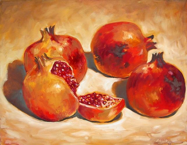 4 Granatäpfel 2001 Oel auf Lnwd 80x100cm