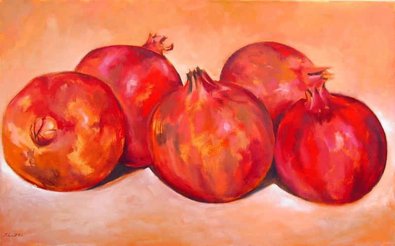 5 Granatäpfel 2002 Oel auf Lnwd 80x100cm