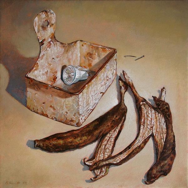 Bananenschale 2005 Oel auf Lnwd 30x30cm