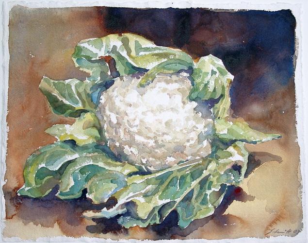 Blumenkohl 2003 Aquarell auf Buetten 80x90cm