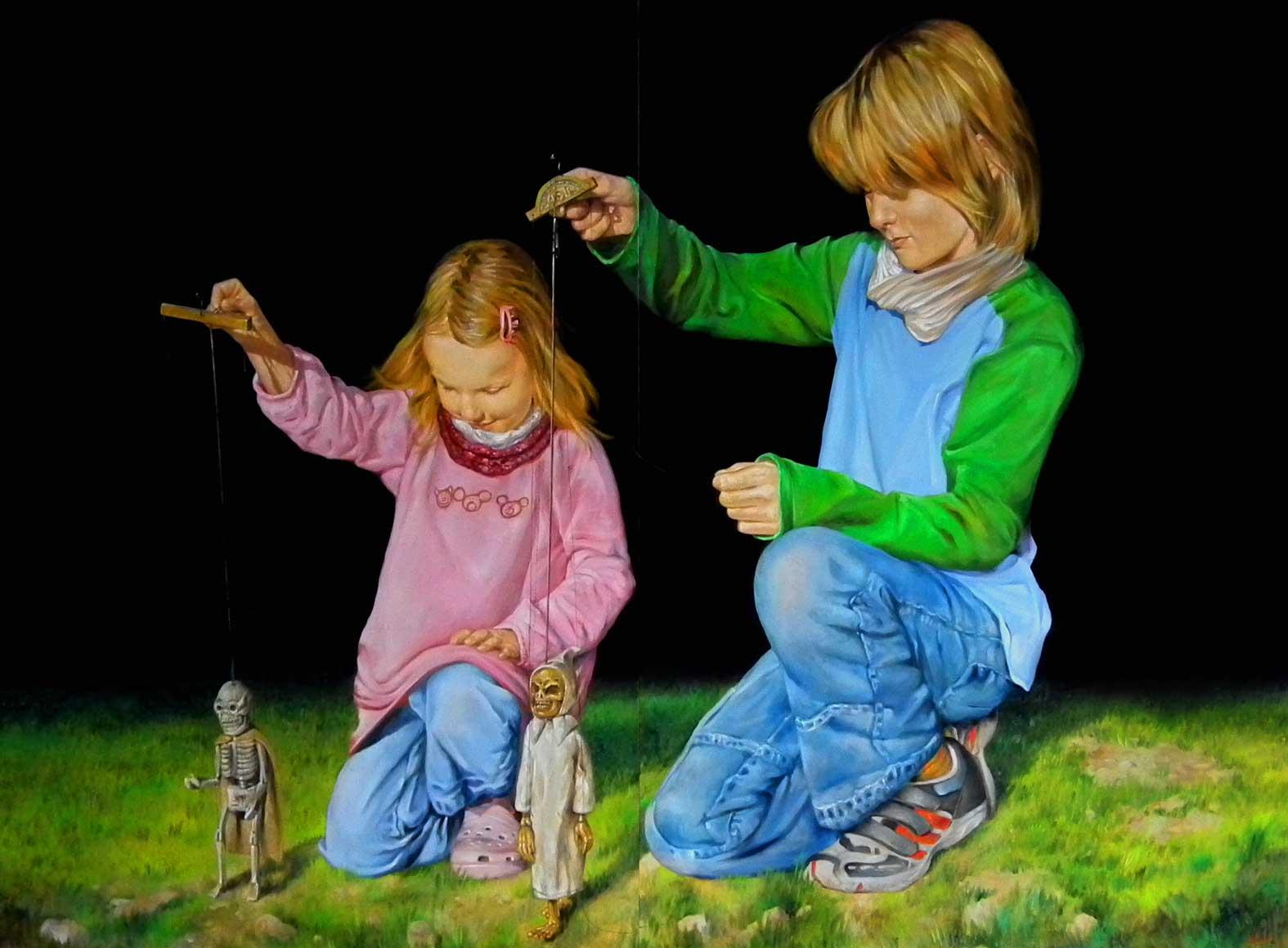 Cosima und Damian 2012 Oel auf Lnwd 150x200cm